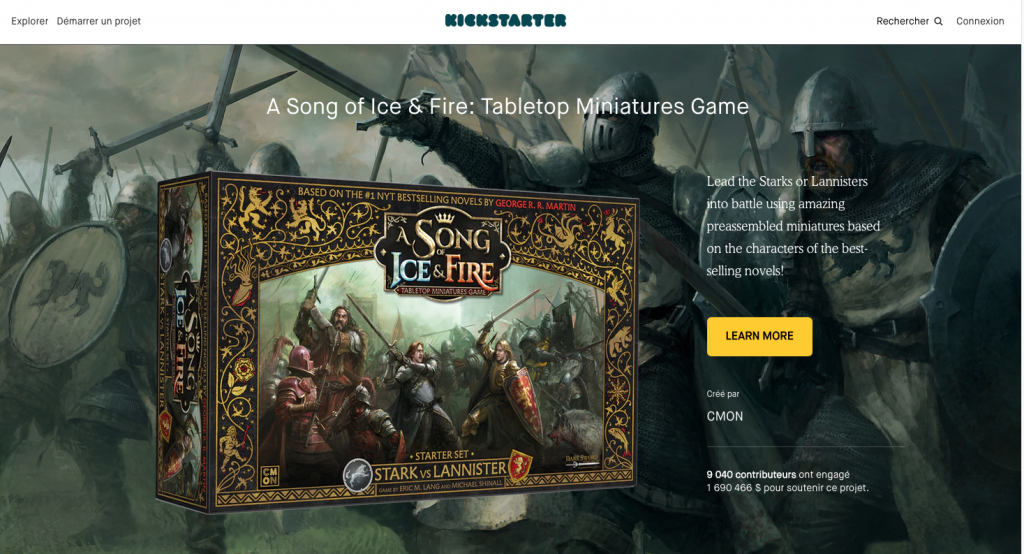 Campagne financement participatif Kickstarter - A Song of Ice and Fire.
